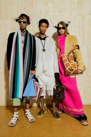 LoeweJonathan Anderson is the master of using art as a springboard for his collections at Loewe and this season he collaborated with the British artist Hilary Lloyd. Her work – which, the notes explained, examined aspects of the natural and built worlds – was mounted onto screens dotted around the runway. Abstract and beguiling, it set the scene for a presentation of Anderson's travelogue. Woven cloth from Burkino Faso, denim from Japan and embroidered cottons from Bangladesh all featured in a collection that was at once experimental and refined, and reinforced his commitment to craft.
