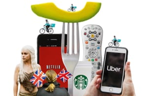 Composite  of images of Emilia Clarke in Game Of Thrones, Netflix and Uber logos on phones, TV remote control, slice of avocado on a fork, Deliveroo bikes, Starbucks coffee cup, woman with union flags stuck in her hair