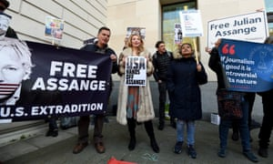 Protesters outside Westminster magistrates court in London