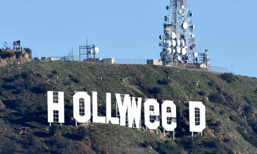 The famous Hollywood sign reads 'Hollyweed' on 1 January 2017. It was not the first time the LA icon had been altered.