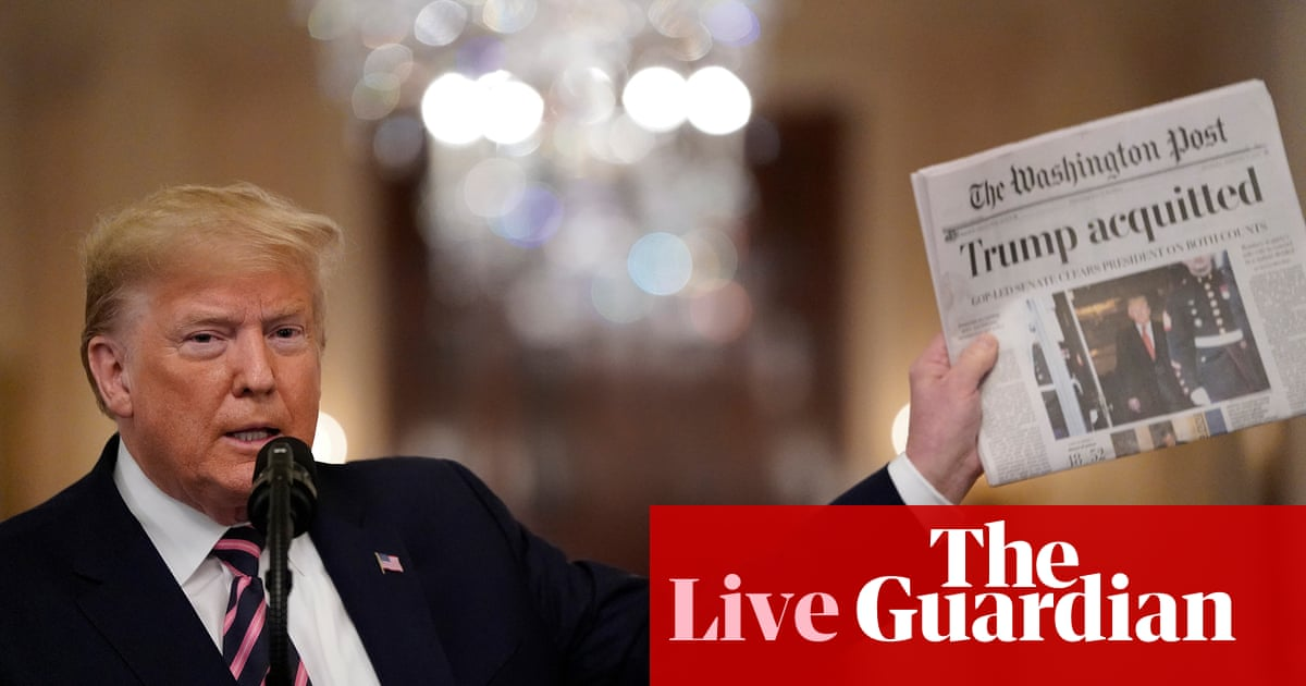 4000 - Trump responds to impeachment acquittal with rambling, vitriolic speech – live news | US news