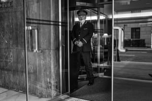 Doorman in New York City on 30 March 2020. Photo By Jordan Gale