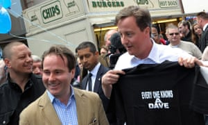 Chris Pincher (wearing jacket) campaigns with the then Tory party leader, David Cameron, in 2010.