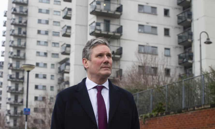 Labour leader Sir Keir Starmer during a visit to Albert House, Woolwich, London, which has cladding that since the Grenfell disaster has been deemed un-safe.