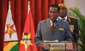 Emmerson Mnangagwa speaking in Mozambique