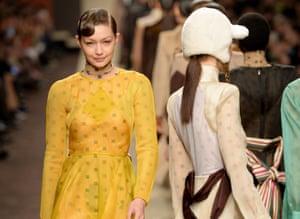 Gigi Hadid and models on the catwalk for Fendi.