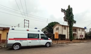 An ambulance parked at the Yaba Mainland hospital where the first case of coronavirus Covid-19 is being treated in Lagos.
