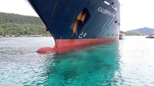 The Caledonian Sky after it ran aground at Raja Ampat