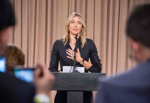 Russian tennis player Maria Sharapova speaking during a press conference in Los Angeles. Russian tennis star Maria Sharapova has been banned for two years after failing a drug test, the International Tennis Federation (ITF) announced on June 8, 2016. Sharapova tested positive for the controversial banned medication meldonium during January's Australian Open.