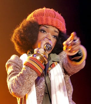 Lauryn Hill of the Fugees, on stage in Zurich, Switzerland, in 2005