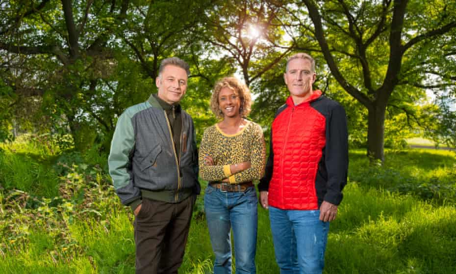 Springwatch 2020 presenters, from the left, Chris Packham, Gillian Burke and Iolo Williams.