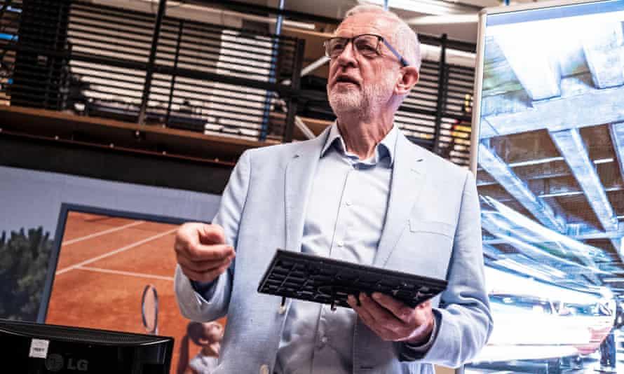 Jeremy Corbyn talks to business leaders in Stevenage on Tuesday.