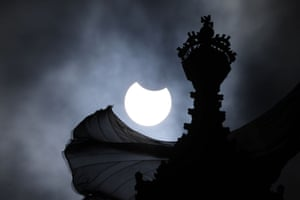 The partial eclipse over the Houses of Parliament in London, England. Viewers witnessed a partial solar eclipse with about a fifth of the sun's light blocked in London