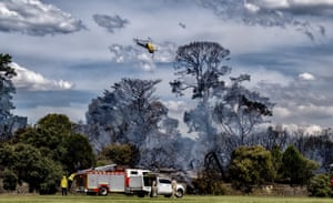 Emergency services tackle a fire burning at Cheltenham Park in Melbourne, Australia