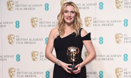 Big news … Kate Winslet with the 2016 best supporting actress Bafta for Steve Jobs.
