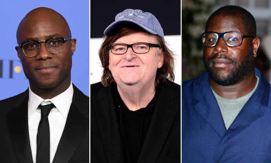 Directors Barry Jenkins, Michael Moore and Steve McQueen.