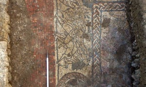 A section of the mosaic, found at a Roman site near Boxford in Berkshire