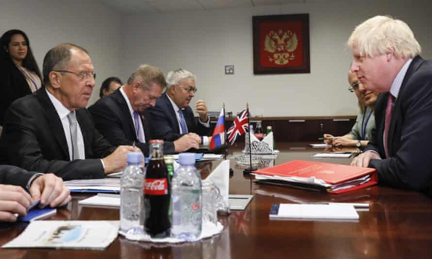 Boris Johnson meets Russian foreign minister Sergei Lavrov and other international leaders at the UN general assembly in New York.