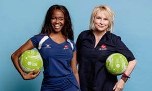 'Hen party' energy ... Oti Mabuse and Jennifer Saunders in All-Star Netball for Sport Relief.