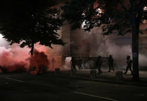 Portland, Oregon, US: Federal agents use crowd control munitions to disperse Black Lives Matter protesters near the Mark O Hatfield courthouse.