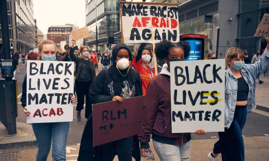 Young Black Lives Matter protesters in London, 3 June.