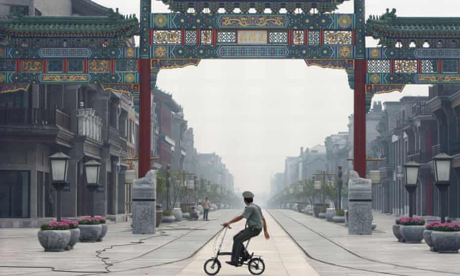 A reconstructed traditional shopping street in Beijing, 2008