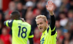 Huddersfield Town's Alex Pritchard celebrates scoring his side's equaliser.