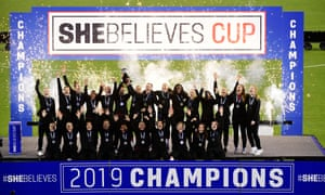 England celebrate after winning the SheBelieves Cup last March.