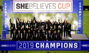 The England Lionesses hold aloft the SheBelieves Cup after their 3-0 victory over Japan at Raymond James Stadium in Tampa, Florida, last month