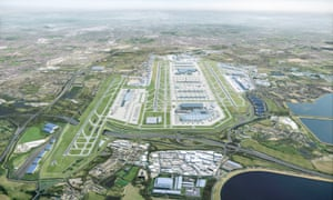 A computer-generated image showing what Heathrow would look like in 2050 after the completion of a third runway and new terminals