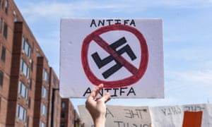 Anti-fascist sign held at the Boston rally.