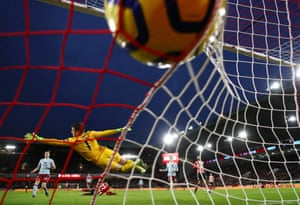 John Fleck of Sheffield United (not pictured) scores his team's first goal as they beat Aston Villa 2-0 to move fifth on Saturday.