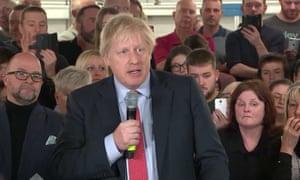 Boris Johnson speaking at the John Smedley Mill Matlock.