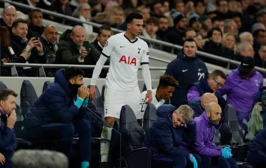 A less-than-chuffed Dele Alli after being subbed off.