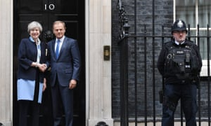 The European Council president, Donald Tusk, meets with Theresa May in London