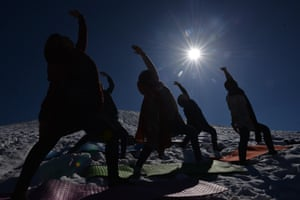 As well as yoga classes, Momtaz's studio also offers zumba, wushu and karate classes, all taught by female Afghan trainers. Here, Momtaz is seen holding a yoga class in the mountains at Shahrak-e Omid Sabz in Kabul