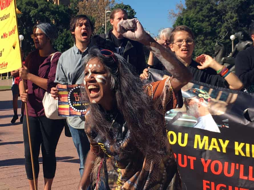 Aunty Dolly Jerome calling for justice for the Bowraville child murder victims during a march on NSW Parliament House.