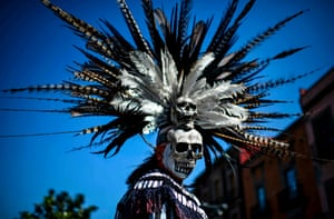 An indigenous man takes part in a ceremony of purification in Mexico City, Mexico