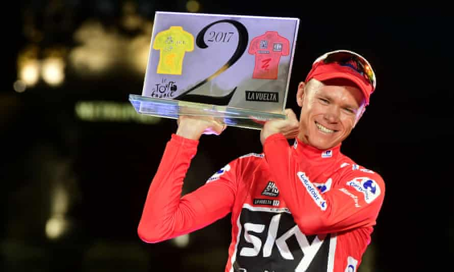 Chris Froome celebrates in Madrid after winning the 72nd edition of  La Vuelta Tour of Spain on 10 September 10 2017