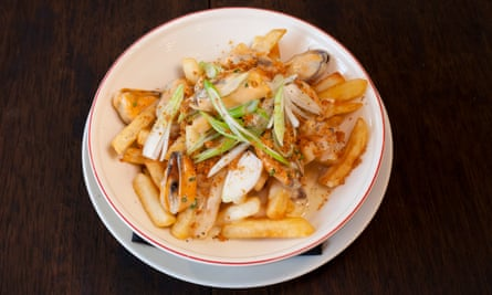 'Solace in a bowl': fries with mussels and bacon chowder.