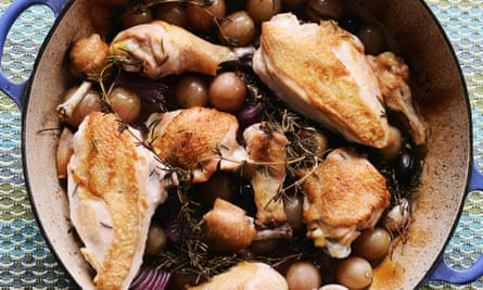 Roast chicken with grapes. The dish is ready when the grapes have relaxed, and begun to caramalise and the chicken is tender and still moist.