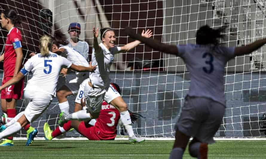 Lucy Bronze celebrates after bagging the winner for England against Canada in 2015.