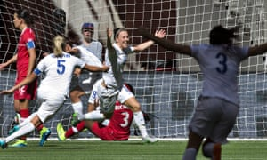 England's Lucy Bronze celebrates her goal against Canada in the 2015 World Cup quarter-final