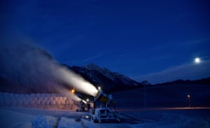 Abtenau, Austria Cannon blow snow on to the slopes in the ski resort. Germany is seeking an EU-wide ban on ski tourism over Christmas to halt coronavirus transmissions