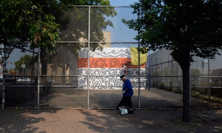 Haring's Crack Is Wack mural, painted in 1986 in Harlem River Park, New York, during restoration.