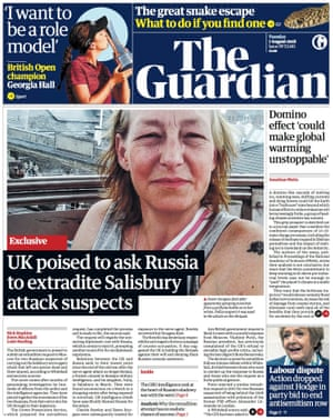 Guardian front page, Tuesday 7 August 2018.