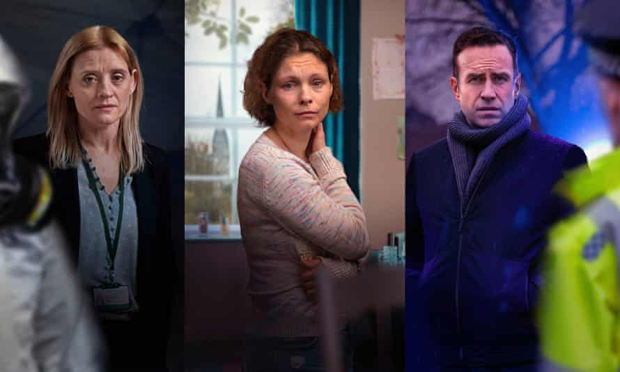 Left to right: Anne-Marie Duff as Tracy Daszkiewicz, MyAnna Buring as Dawn Sturgess and Rafe Spall as DS Nick Bailey in The Salisbury Poisonings.
