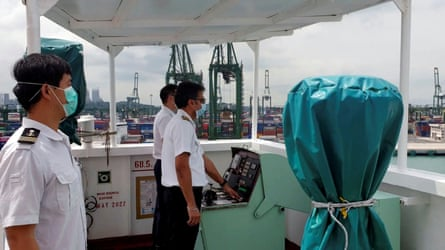 Crew on a Pacific International Lines ship