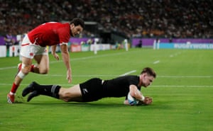 New Zealand's Jordie Barrett scores their second try.