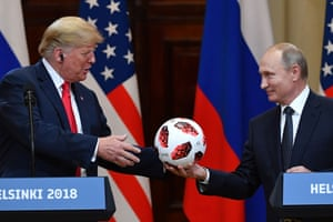 Putin offers a ball from the FIFA World Cup to Trump